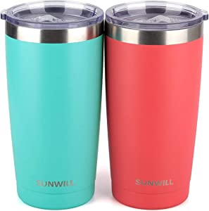 SUNWILL 20oz Tumbler with Lid (Teal & Coral 2 pack), Stainless Steel Vacuum Insulated Double Wall Travel Tumbler, Durable Insulated Coffee Mug, Thermal Cup with Splash Proof Sliding Lid