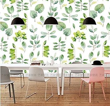 HUANGYAHUI Wandbilder Große Wandmalereien Nordic Wind Wohnzimmer Fernseher  Sofa Hintergrundbild Restaurant Tapeten Frisches Wasser Farbe Blätter