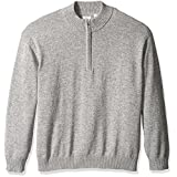 IZOD Men's Big and Tall Saltwater Marled Waffle 1/4 Zip Sweater, Light Grey Heather, 2X-Large Tall