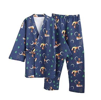 YTFOPLK Linda Caricatura Luna Zorro Mujer Kimono Batas Invierno Japonés Engrosar Mantener Abrigados Amantes De Algodón Pijamas Batas De Baño Batas, ...