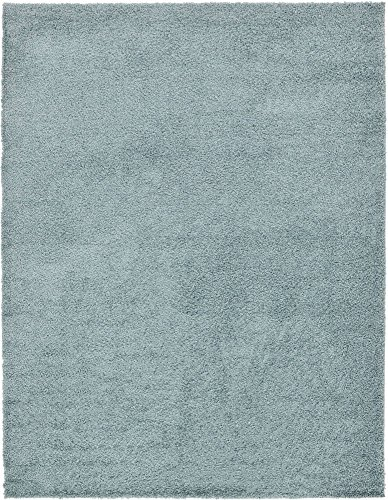 Unique Loom Solo Solid Shag Collection Modern Plush Light Slate Blue Area Rug (9' 0 x 12' 0) (Area Rugs 9x12 Teal)