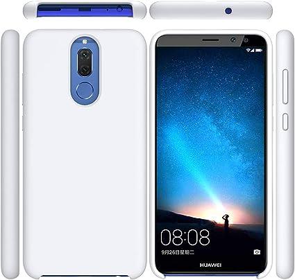 Funda para Huawei Mate 10 Lite, Líquido de Silicona Carcasa Huawei Mate 10 Lite, Anti-Huella Digital con Suave Almohadilla de Forro de Tela de Microfibra, Funda Liquida Silicona Blanco: Amazon.es: Electrónica