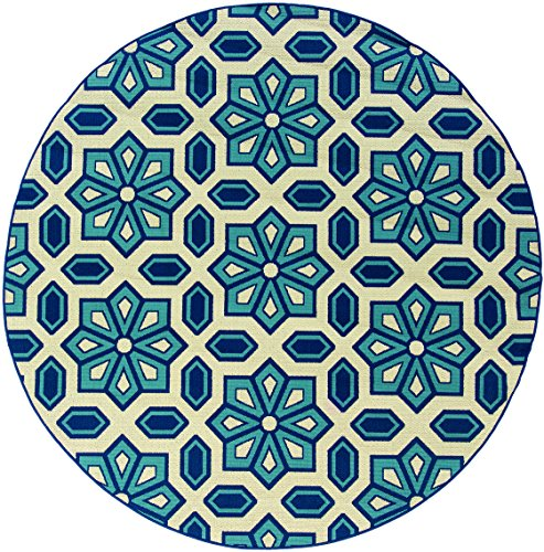 Oriental Weavers 969W6 Caspian Round Outdoor/Indoor Area Rug, 7-Feet 10-Inch