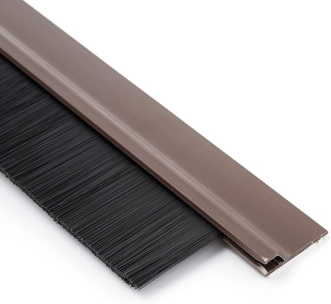 uxcell Self-Adhesive Door Bottom Sweep Brown Plastic w 1.2-inch Black PVC Soft Brush 39-inch x 2.1-inch