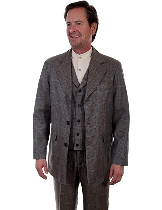 Men's Vintage Style Suits, Classic Suits Scully Mens 541699 Plaid Town Coat $218.50 AT vintagedancer.com