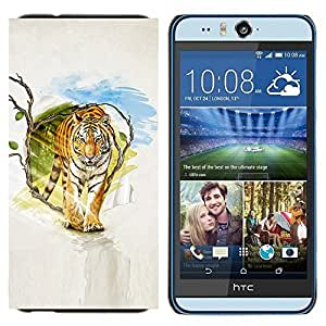 EJOOY---Cubierta de la caja de protección para la piel dura ** HTC Desire Eye M910x ** --Tigre Pintura Arte