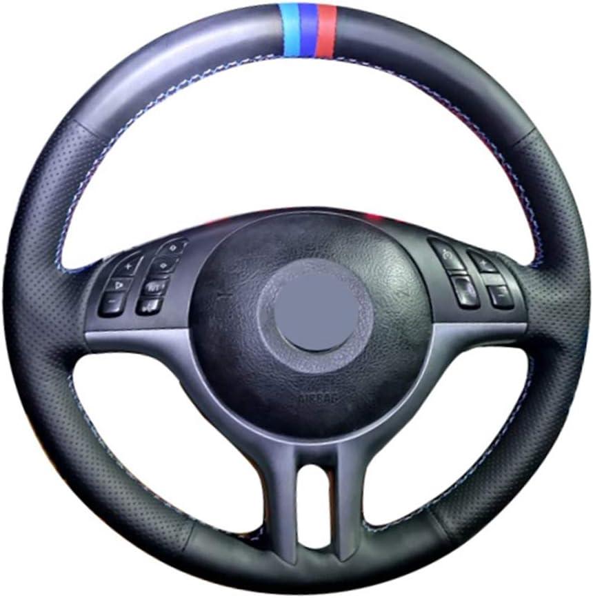HZHAOWEI Cuero Artificial Suave Negro Cosido a Mano 3 Colores Rayas Cubiertas del Volante del Coche, para BMW E39 E46 325i E53 X5 X3