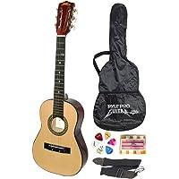 "Beginner 30"" Classical Acoustic Guitar - 6 String Linden Wood Traditional Style Guitar w/Wood Fretboard, Case Bag, Nylon Strap, Tuner, 3 Picks - Great for Beginner, Children Use - Pyle PGAKT30"