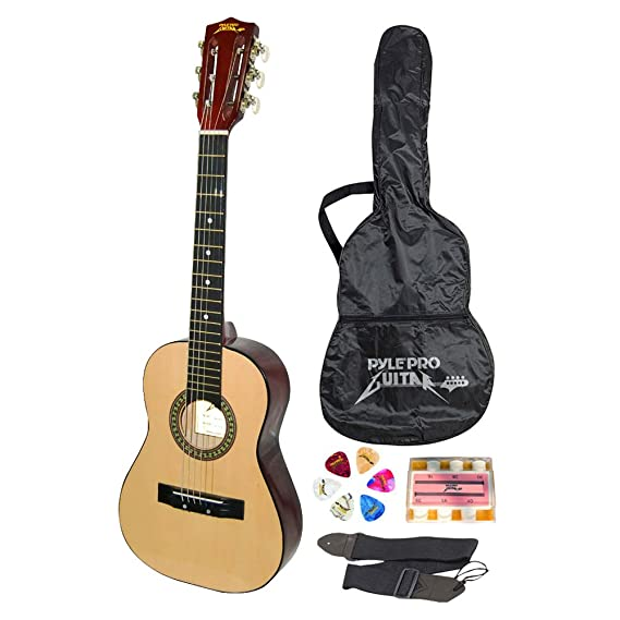 "Review Beginner 30"" Classical Acoustic Guitar - 6 String Linden Wood Traditional Style Guitar w/Wood Fretboard, Case Bag, Nylon Strap, Tuner, 3 Picks - Great for Beginner, Children Use - Pyle PGAKT30"