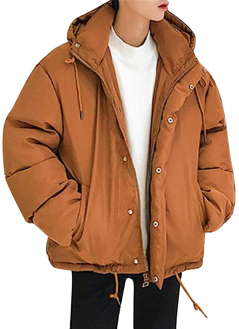 XiaoTianXinMen XTX Mens Warm Quilted Hoodie Winter Solid Color Lovers Clothes Thicken Loose Fit Puffer Jacket