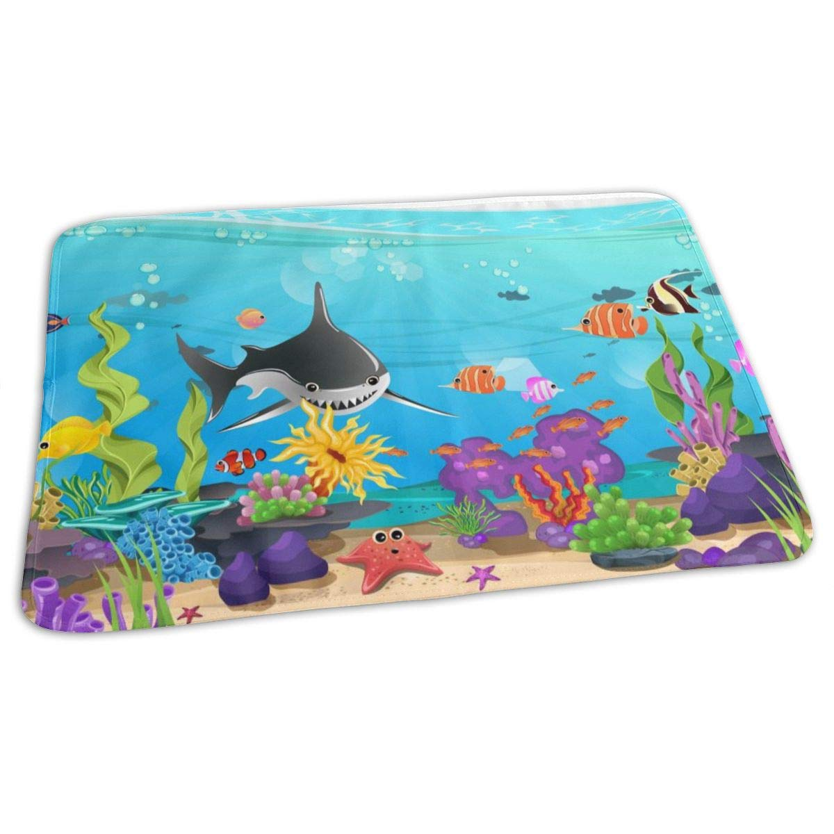 Osvbs Lovely Baby Reusable Waterproof Portable Beautiful Ocean with Seagrass Coral Sharks Changing Pad Home Travel 27.5''x19.7'' by Osvbs