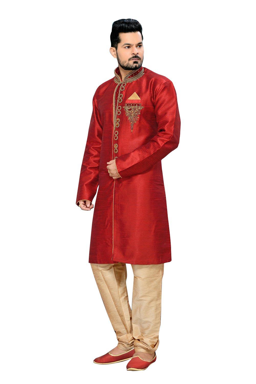 Classic Red Jacquard Silk Indian Wedding Sherwani For Men
