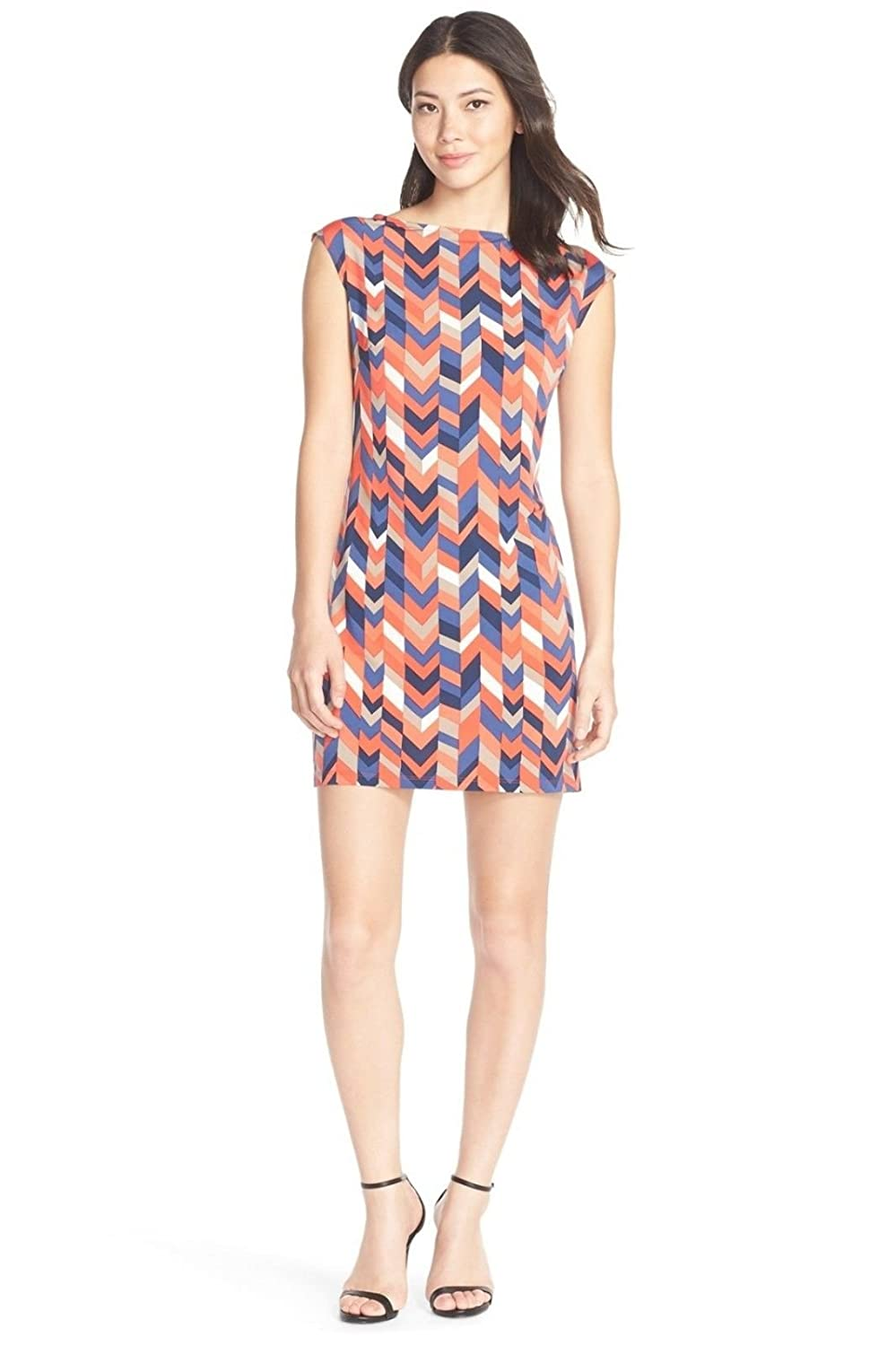 Trina Turk 'Felana' Printed Jersey Shift Dress, Orange/Blue