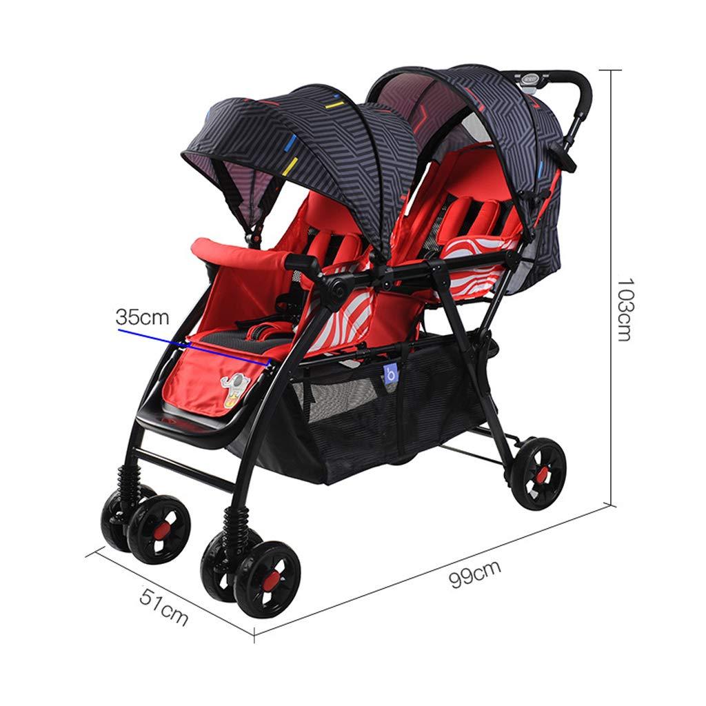 Baobcher Mellizos Cochecitos Dobles para ni/ños peque/ños Carros Plegables Pueden Sentarse y acostarse Color : Red