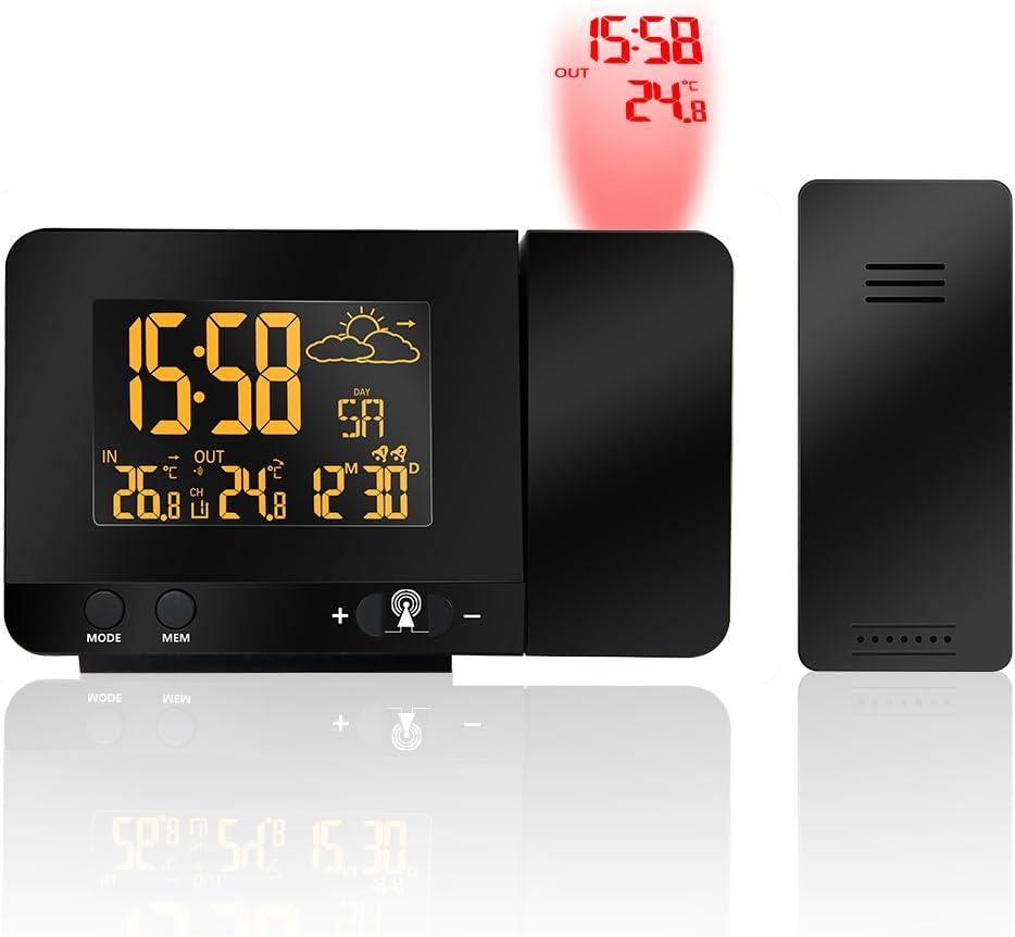 Protmex Despertador de la Proyección, Reloj y Despertador Proyección con Estación Meteorológica, 2 despertadores con Snooze Ajustable, Temperatura Exterior y Interior, Barómetro de Predicción