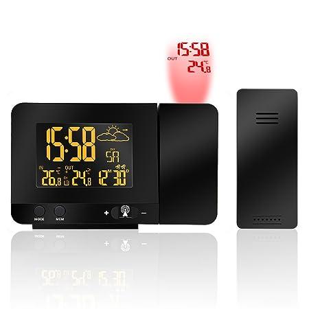 RELOJ PROYECTOR, Houzetek Reloj y Despertador Proyección con Estación Meteorológica, 2 despertadores con Snooze Ajustable, Temperatura Exterior y ...