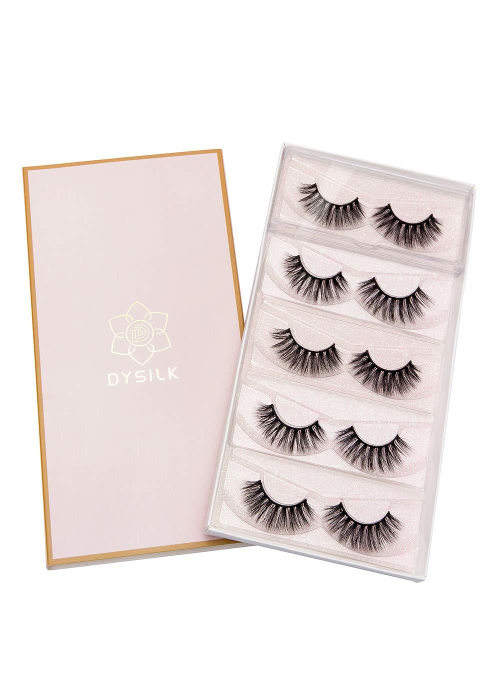DYSILK 3D Eyelashes Dramatic Look False Eyelashes Extension Makeup Long Handmade Fake Eyelashes Fluffy Soft Reusable Black 5 Pairs