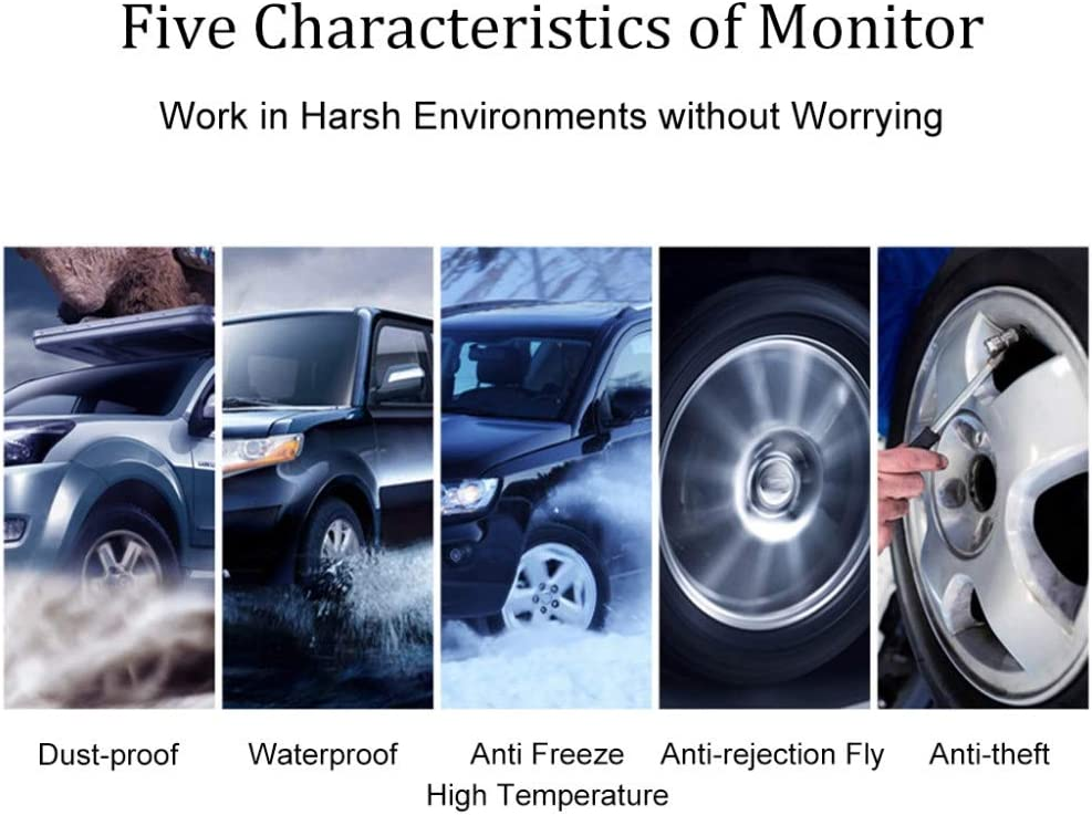 Monland 1 Set Black TP-8610 Solar Tire Pressure Monitoring Systemwith 6 External Sensors Digital Tyre Pressure Monitoring for Bus RV Truck