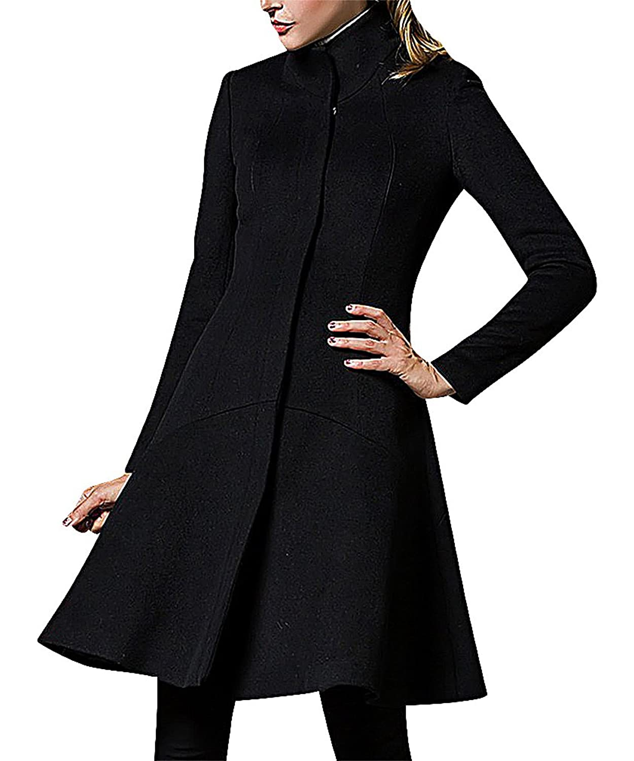 Maze, Women's Red Black Elegant Zipped Waisted Stand Collar Seamed Dress Coat
