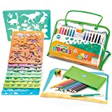 Drawing Stencils Set for Kids - Includes Animal, Number and Letter Shapes - Endless Art and Craft Activities to Enhance Children's Creativity - 2018 Toys Award - Ideal Birthday Gift for Boys and Girls