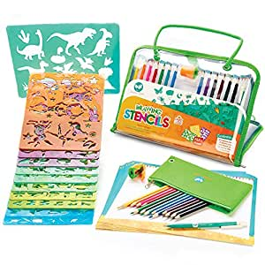 Stencils and Drawing Art Set for Kids by Creativ' Craft - Educational Toy to Enhance Children Creativity and Travel Activity Kit - Loved By Parents Golden Award - Ideal Gift for Boys and Girls