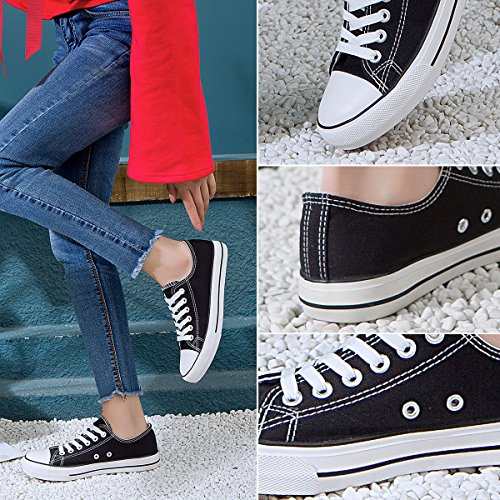 Lace AOMAIS Black1 Shoes Fashion Low Shoes PU Sneaker Womens up Top Canvas Walking 1pS1qOw