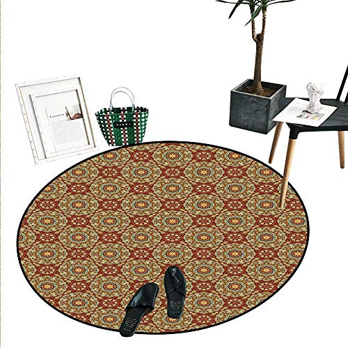 - Mandala Round Small Door Mat Ethnic Abstract Arabic Flora Pattern Medieval Mosaic Tile Design Indoor/Outdoor Round Area Rug (2' Diameter) Pale Coffee Pale Blue Ruby