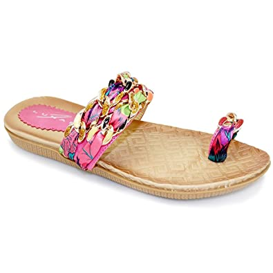 Sapphire Boutique Damen-Sandalen, bequem, Zehenschlaufe, mehrfarbiger Halteriemen - 3 UK / 36 EU, Blau, Synthetik