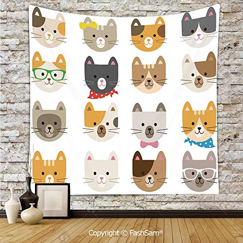 FashSam Tapestry Wall Blanket Wall Decor Cats Costume with Glasses Bow Tie Bandanna Cartoon Art Craft Pattern Print Pets Animal Lovers Print Decorative Home Decorations for Bedroom(W39xL59) -