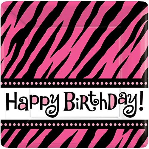 Another Year of Fabulous Adult Birthday Party Zebra Print Square Dinner Plates Tableware, Pack of 8, Pink/Black , 10