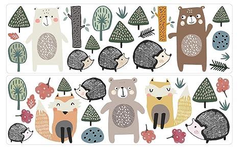 dekodino® Pegatina de pared animales del bosque de pasteles erizo ...
