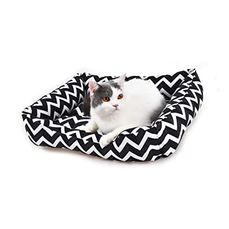 YGJT Cama para Gatos/Perro Pequeño Sofá Cojín Dormir Cesta Accesorios de Alfombrilla Mascotas 52x40x13cm (Negro)