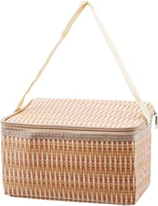 lehao Portable Insulated Thermal Cooler Lunch Box Imitation Rattan Lunch Bag Picnic Container Tote Storage Bags for Adults Men Women