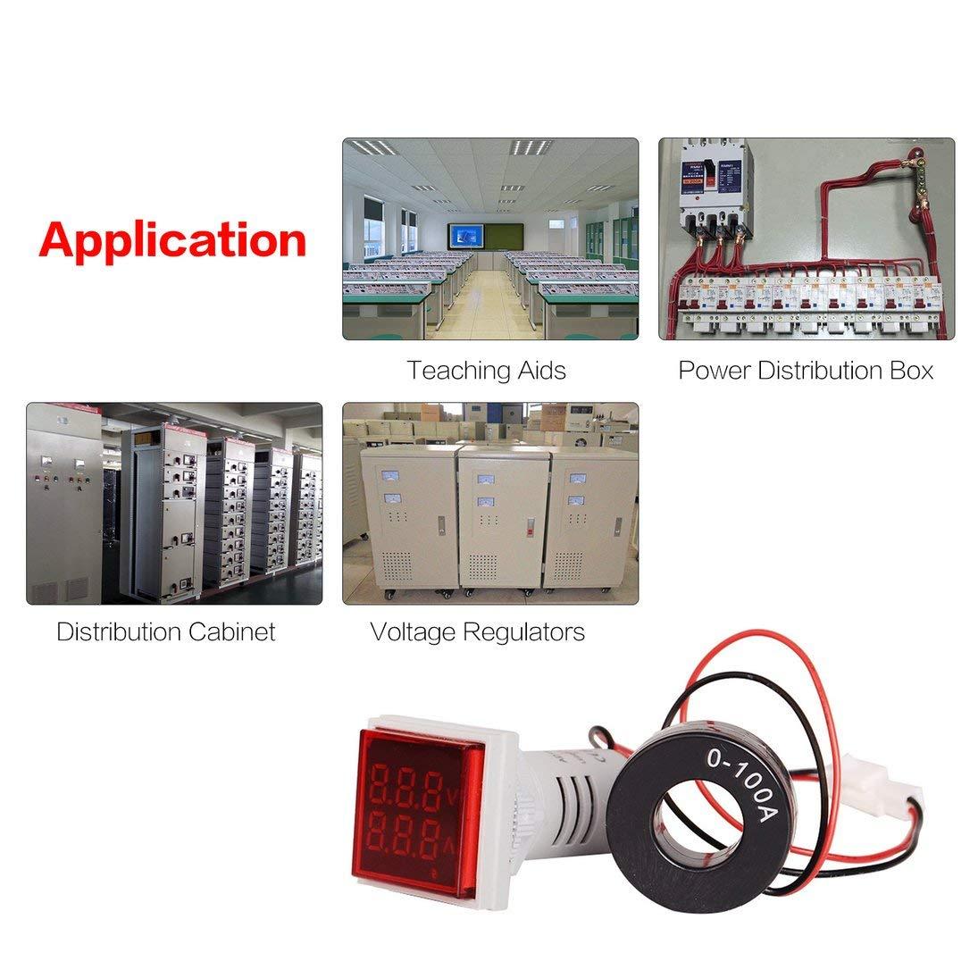 SINOTIMER AC Voltmetro digitale Amperometro 50-600 V 100A 22mmLED Indicatore di corrente Misuratore di tensione Mini Volt Amp Tester Aquare Panel ToGames-IT