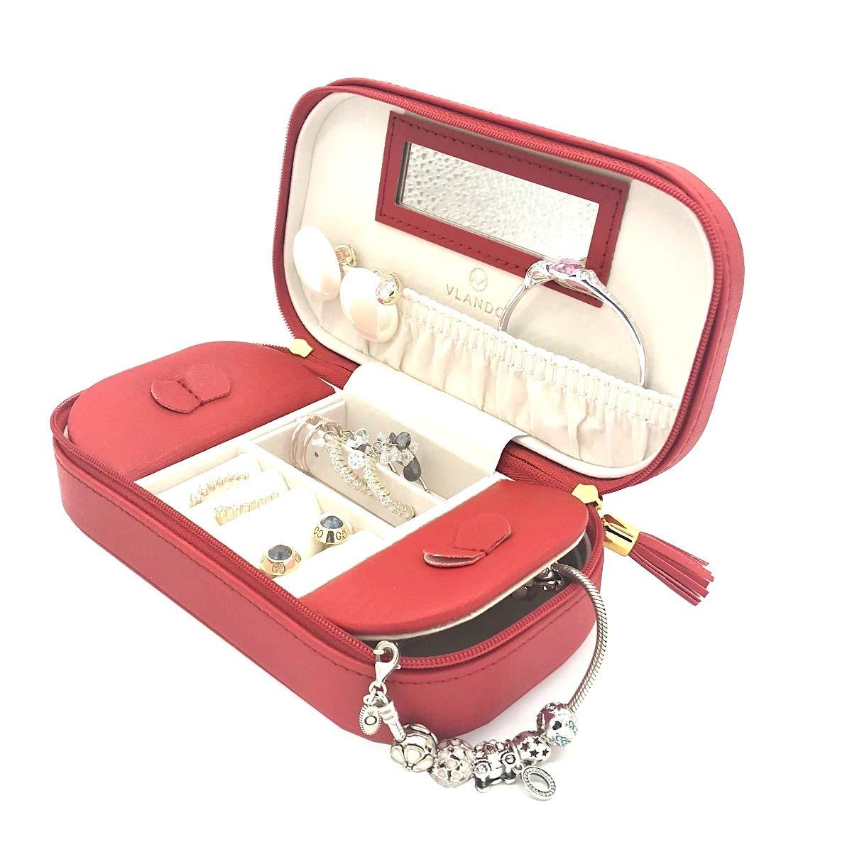 Vlando, piccola scatola portagioielli, in finta pelle con nappa, colore rosa Black