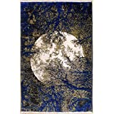 Rugstc 4'6 x 7'0 Chobi Ziegler Area Rug Made Using Vegetable Dyes with Silk & Wool Pile | 100% Original Hand-Knotted in Blue,Beige,Ivory Colors | a 4.5x7 Rectangular Double Knot Rug