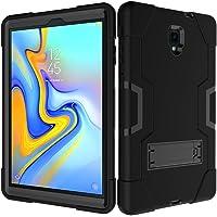 Funda para Samsung Galaxy Tab A de 10,5 pulgadas 2018 (T590/T595/T597) [carcasa híbrida a prueba de golpes] 3 capas de plástico y protección de goma, resistente, cuerpo completo, con función atril, a prueba de caídas, Negro/Negro