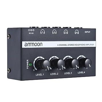 ammoon HA400 Ultra Compacto 4 Canales Mini Audio Estéreo Amplificador de Auriculares con Adaptador de Corriente