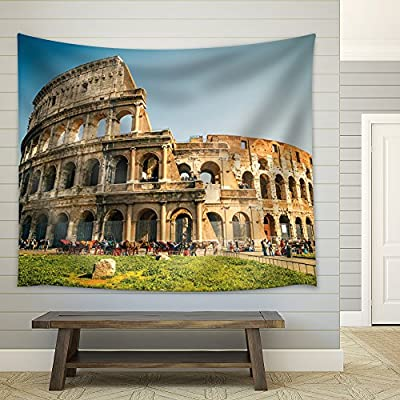 Horses Outside of The Coliseum in Rome - Fabric Tapestry, Home Decor - 51x60 inches