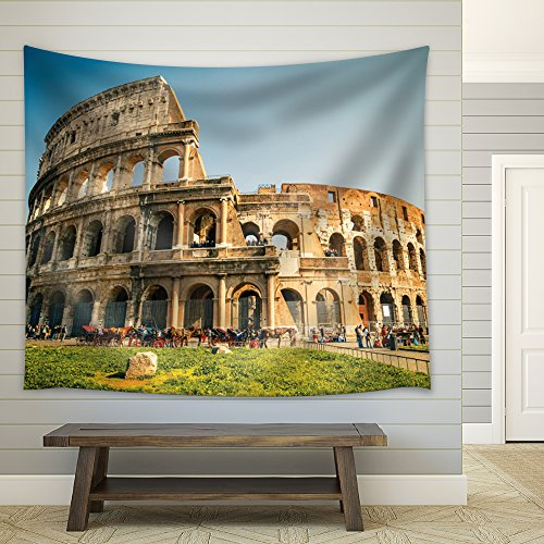 Horses Outside of the Coliseum in Rome Fabric Tapestry
