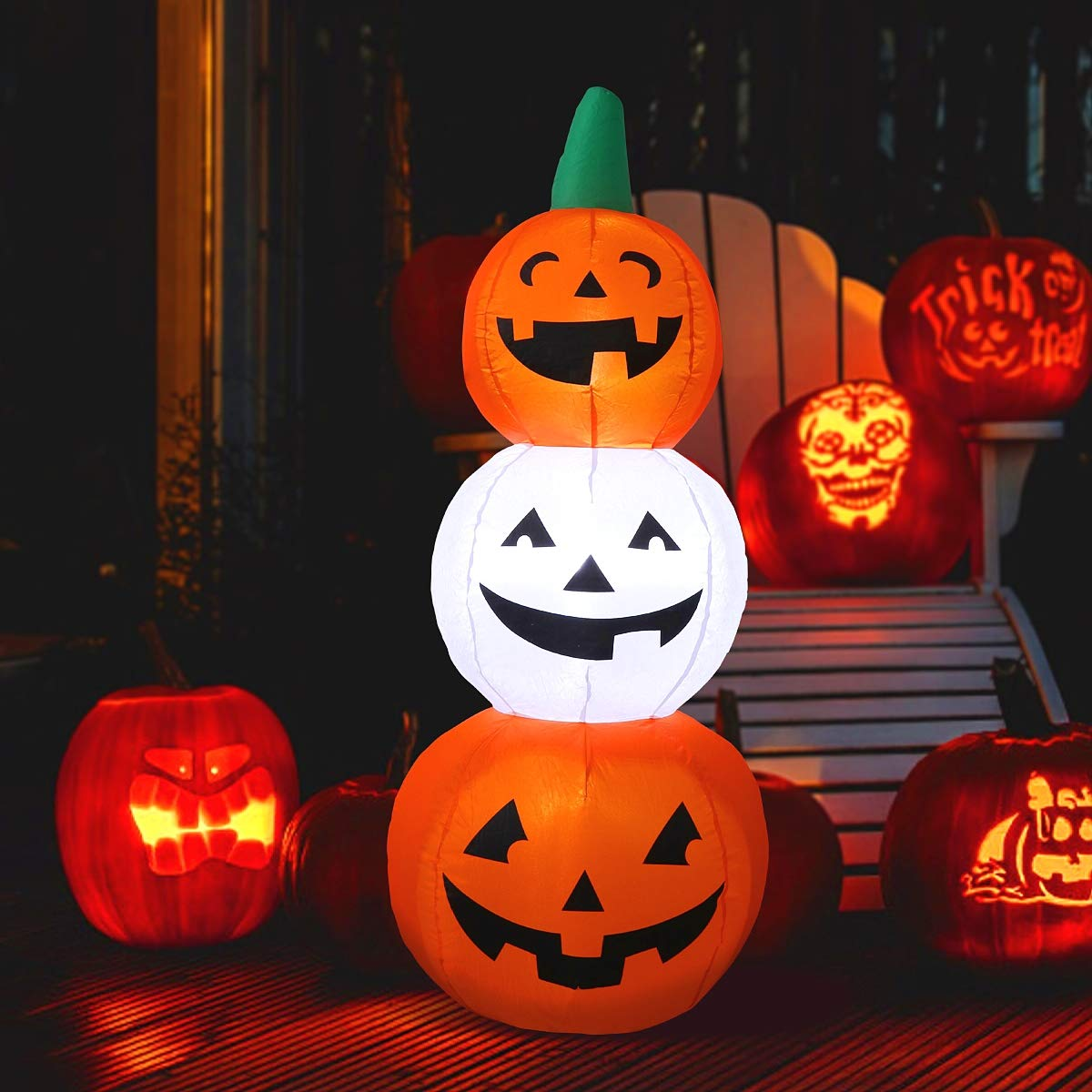 MAOYUE 4.3ft Halloween Inflatables Pumpkin Decorations Outdoor Halloween Blow Up Decorations Built-in LED Lights with Stakes, Inflatable Decorations for Outdoor, Yard, Garden, Lawn, Party
