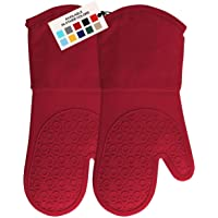 HOMWE Extra Long Professional Silicone Oven Mitt, Oven Mitts with Quilted Liner, Heat Resistant Pot Holders, Flexible…