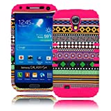 Bastex Heavy Duty Hybrid Hot Pink Silicone / Aztec Dynamic Tribal Hard Case Cover with Kickstand for Samsung Galaxy S4