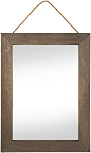 Emfogo Rustic Wood Framed Wall Mirror 16 X 12 Inch Bathroom Mirror with Hanging Rope for Farmhouse Decor ,Vanity, Living Room, Bedroom, Entryway Wall