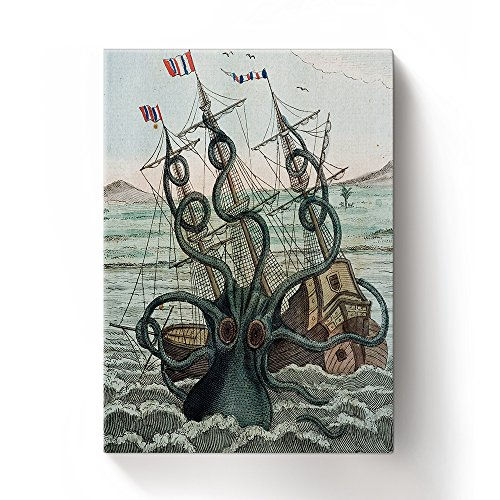 ALAGO Wall Arts-Octopus Kraken Attacks The Boat Giclee Canvas Prints Gallery Wrapped Modern Artworks Sea Monster Pictures Paintings for Home Decor Framed,Ready to ()