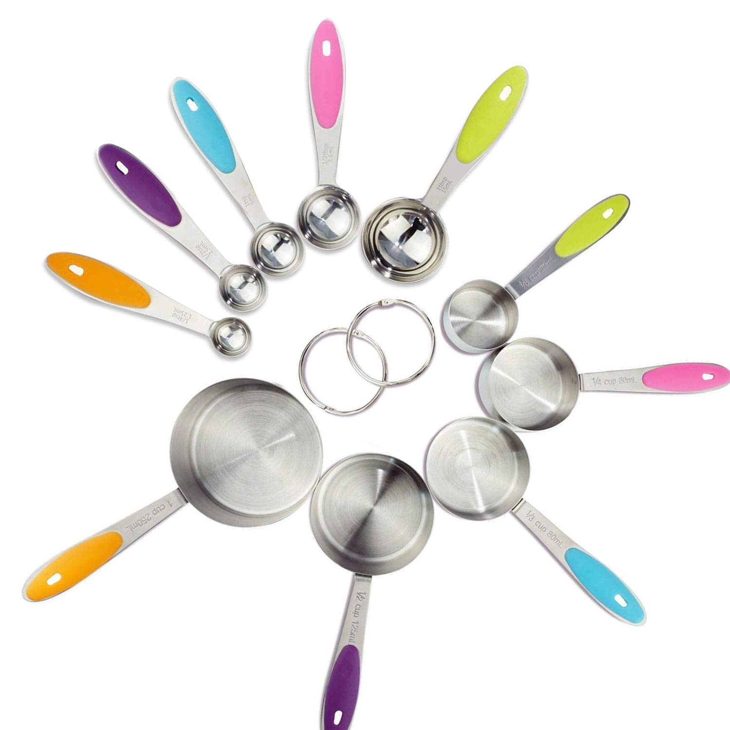 CestMall Measuring Cups and Spoons Set of 10, Durable Stainless Steel 5 Measuring Cups and 5 Measuring Spoons with 2 O Rings Multicolored Silicone Handles for Measuring Dry and Liquid Ingredients