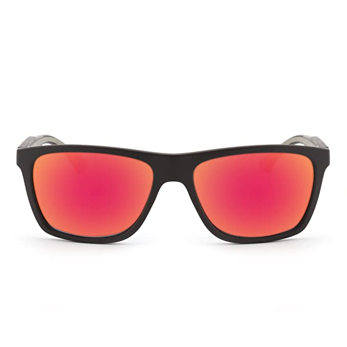 ceb7fec0dc Gafas de Sol de Espejo Retro Lentes Cuadrados Reflexivo Templo de Goma  Hombre Mujer Negro Mate Lente Rojo: Amazon.es: Ropa y accesorios