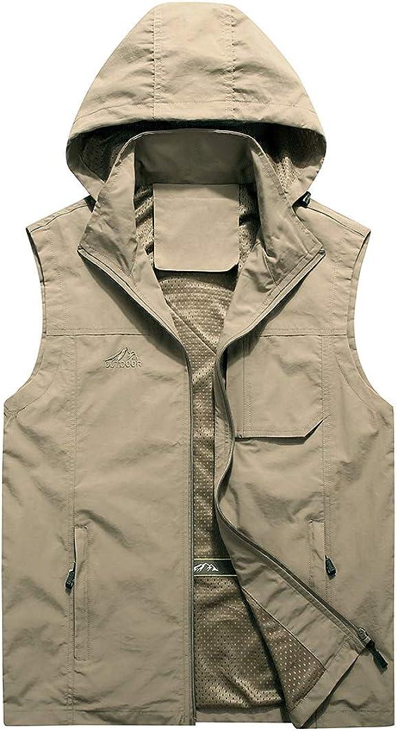 Duyang Men's Outdoor Hooded Multi-Pocket Safari Photo Fishing Travel Work Vest