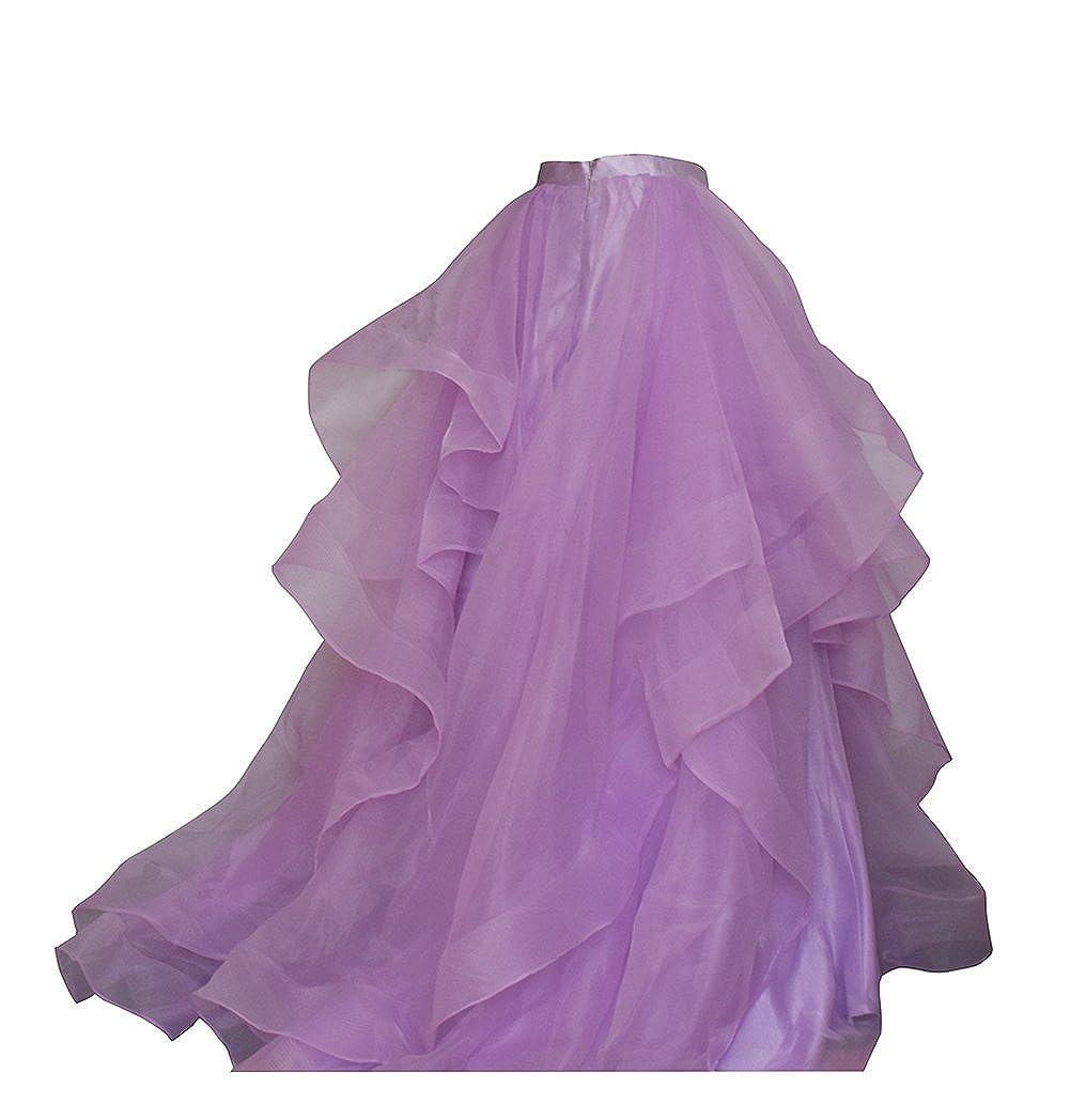 Lavender Flowerry Women Organza Bridesmaid Skirt Women Formal Skirt Prom Wedding Party Skirt