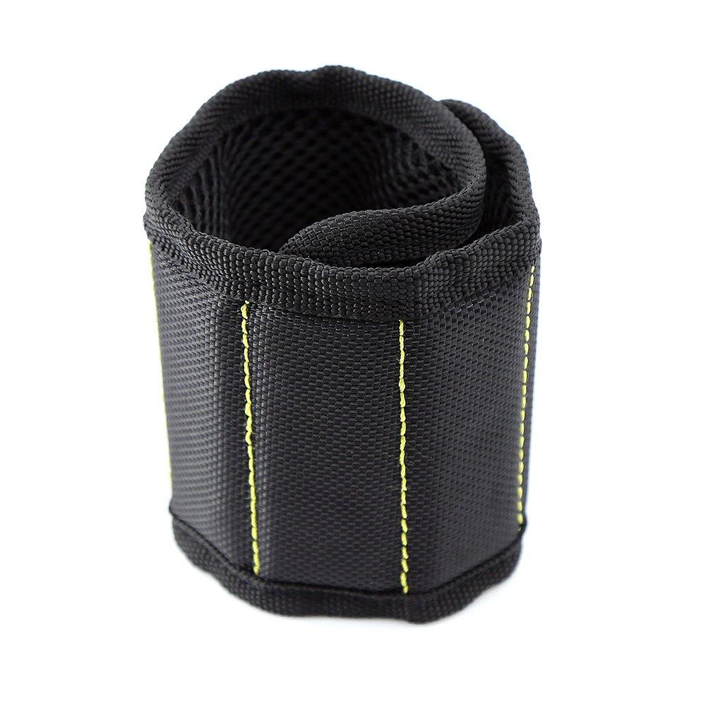 MINHER Magnetisches Armband Super Starke Magnete und Haken und Schlaufen Verschluss fü r Halteschrauben, Scheren, DIY Handwerk, kleine Werkzeuge Halter schwarz